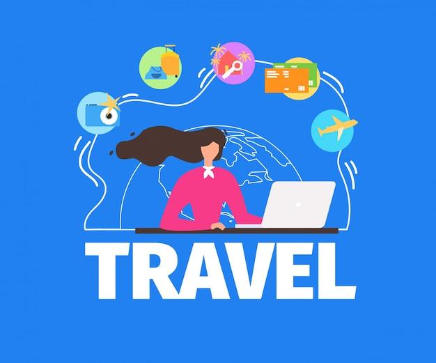 Zomer vakantie reizen platte vector banner van plan