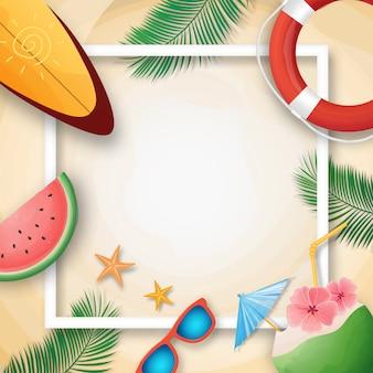 Zomer vakantie sjabloon met strand zomer accessoires.
