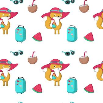 Zomer vector naadloze patroon met grappige fox