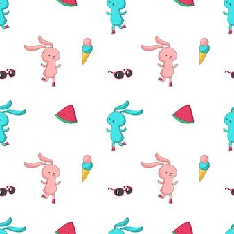 Zomer vector naadloze patroon met schattige konijntje