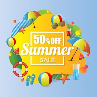 Zomer verkoop 50% korting banner illustratie Premium Vector