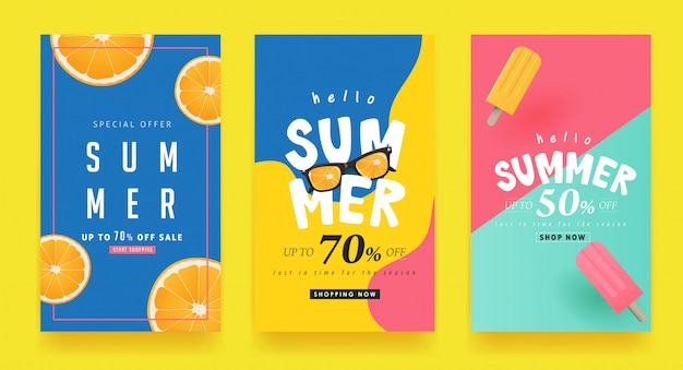 Zomer verkoop achtergrond lay-out banners. bon korting.