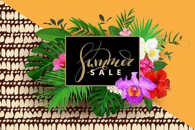 Zomer verkoop achtergrond met orchidee, hibiscus bloemen en palm, monstera bladeren voor webdesign