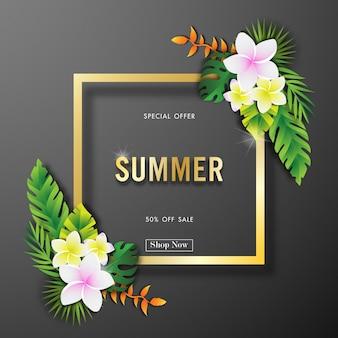 Zomer verkoop achtergrond met tropische ontwerp vector