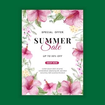 Zomer verkoop banner flyer met bloem hibiscus aquarel