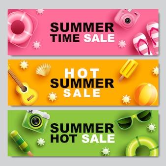 Zomer verkoop, banner lay-outontwerp, kleurrijk thema, sjabloonontwerp, illustratie.
