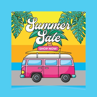 Zomer verkoop banner met bestelwagen auto illustratie. 80ãƒâƒã'âƒãƒâ'ã'â'ãƒâƒã'â'ãã´s stijl