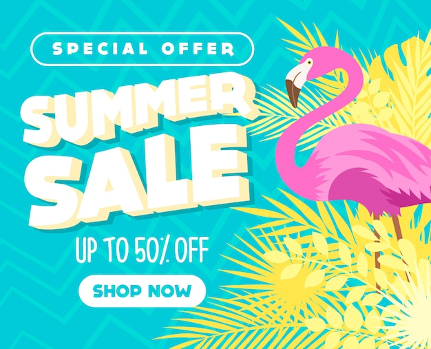 Zomer verkoop banner met bladeren en flamingo