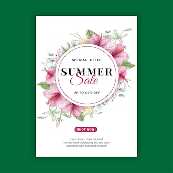 Zomer verkoop banner met bloem hibiscus aquarel