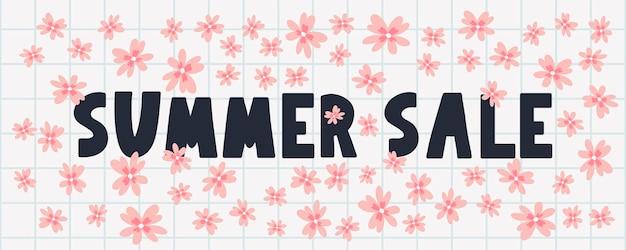 Zomer verkoop banner met bloemen brief vector