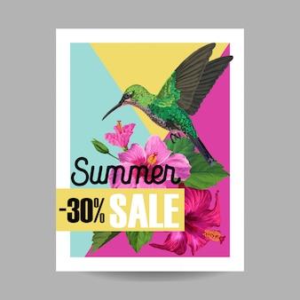 Zomer verkoop banner met bloemen en zoemende vogels