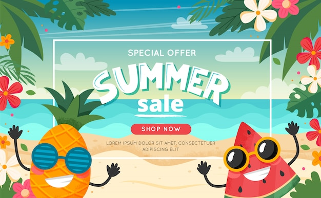Zomer verkoop banner met fruit karakter, strandlandschap, belettering en bloemen frame. vectorillustratie in vlakke stijl