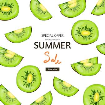 Zomer verkoop banner met kiwi fruit thema