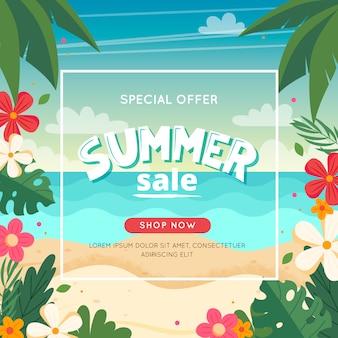 Zomer verkoop banner met strandlandschap, belettering en bloemen frame. vectorillustratie in vlakke stijl