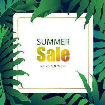 Zomer verkoop banner met tropische bladeren, exotische tropische bladeren ontwerp