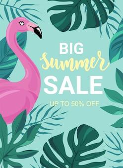 Zomer verkoop banner met tropische bladeren, flamingo. goed te koop flyers, kaarten, reclame, promoposter, websjablonen. hand belettering woord