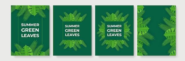 Zomer verkoop banner met tropische papier gesneden bladeren.