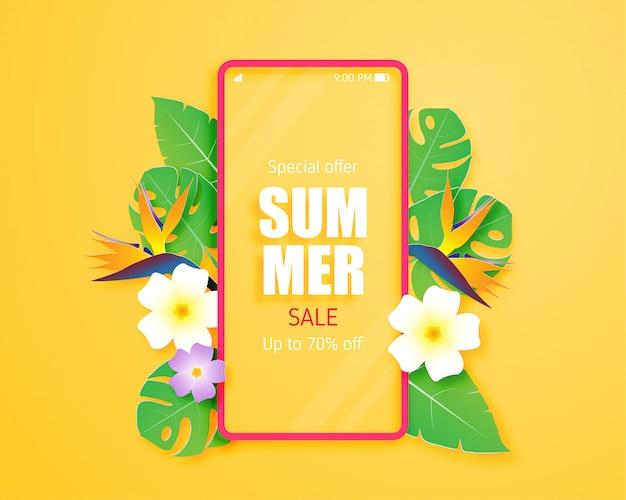 Zomer verkoop banner of poster met tropische bladeren, bloemen en mobiel in papier knippen stijl. papierkunst en handwerk om in de zomer te winkelen.
