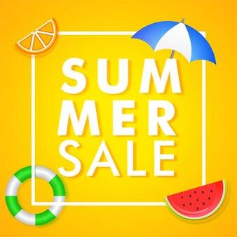 Zomer verkoop banner ontwerp met stijlvolle watermeloen segment