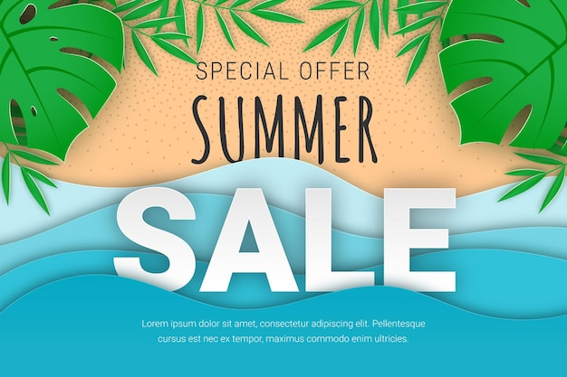 Zomer verkoop banner papier gesneden tropisch strand vector achtergrond met tropische palmbladeren zee