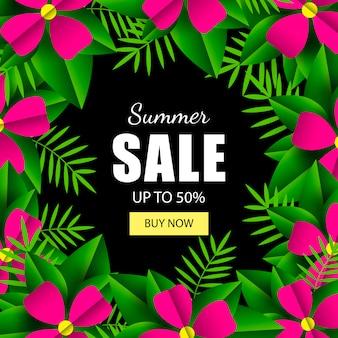 Zomer verkoop banner sjabloon tropische bladeren en bloemen