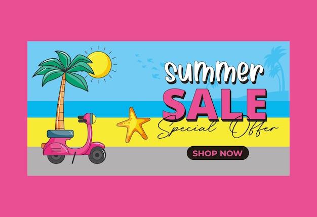 Zomer verkoop banner. strandillustratie met retro motorfiets