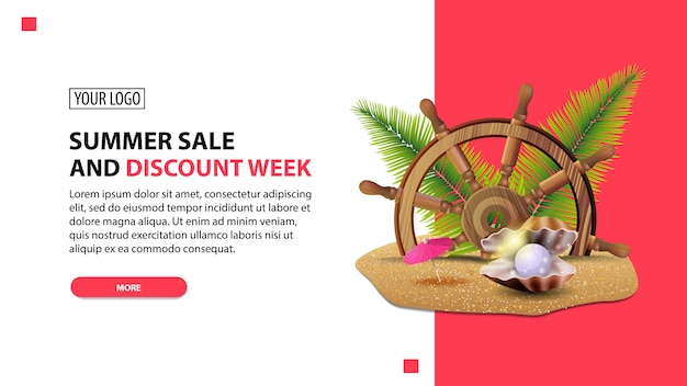 Zomer verkoop en kortingsweek, korting witte minimalistische webbanner sjabloon voor uw website
