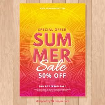 Zomer verkoop flyer met zonsondergang kleuren