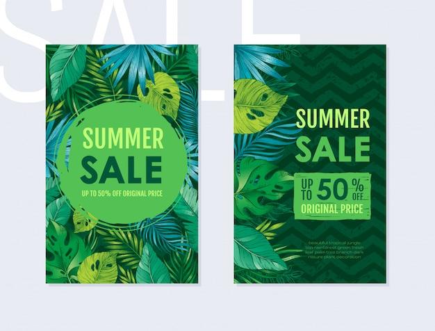 Zomer verkoop flyer set met tropische exotische bladeren patroon. verticale flyers met monstera, palm, banaan op zwarte zig zag achtergrond.