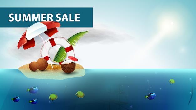 Zomer verkoop, horizontale zee webbanner met kokosnoot cocktail