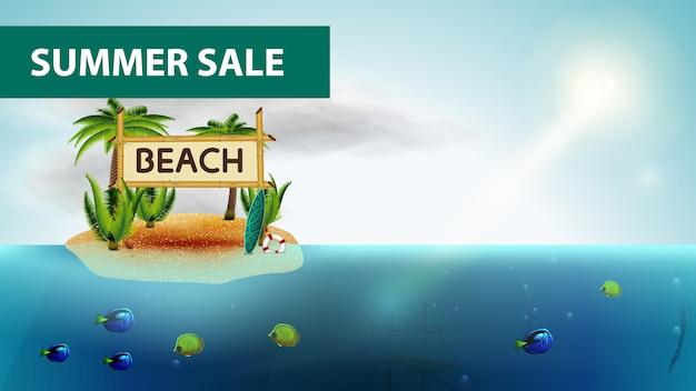 Zomer verkoop, horizontale zee webbanner met kokospalmen