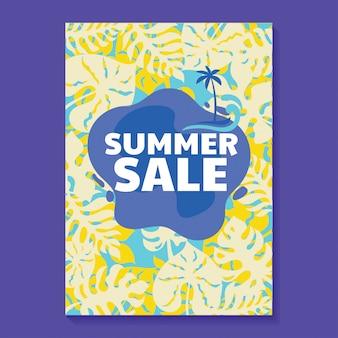 Zomer verkoop illustratie met ijslolly, strand en tropische bladeren achtergrond