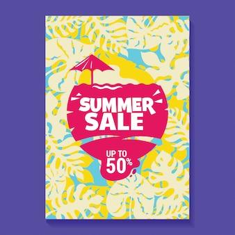 Zomer verkoop illustratie poster met ijslolly, strand en tropische bladeren achtergrond