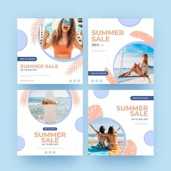 Zomer verkoop instagram post meisjes op het strand