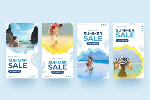 Zomer verkoop instagram verhalen mensen op het strand