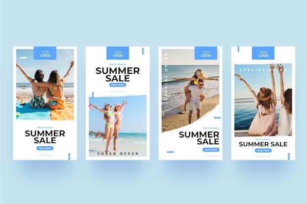 Zomer verkoop instagram verhalen vrienden op het strand