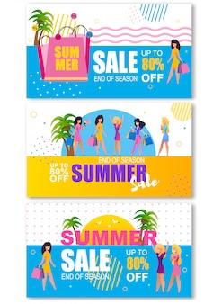 Zomer verkoop kopregel banners instellen voor vrouw shopping tour
