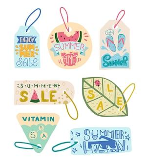 Zomer verkoop label. geniet van de zomer-tag. labels zomertijd en vakantie. labels promotie. doodle illustratie briefkaart en detailhandel.