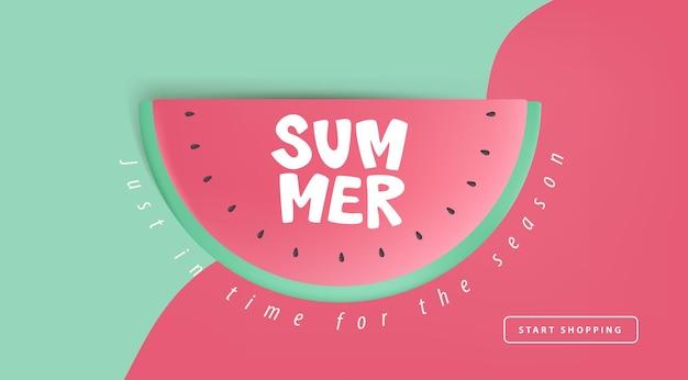 Zomer verkoop lay-out poster banner met watermeloen concept