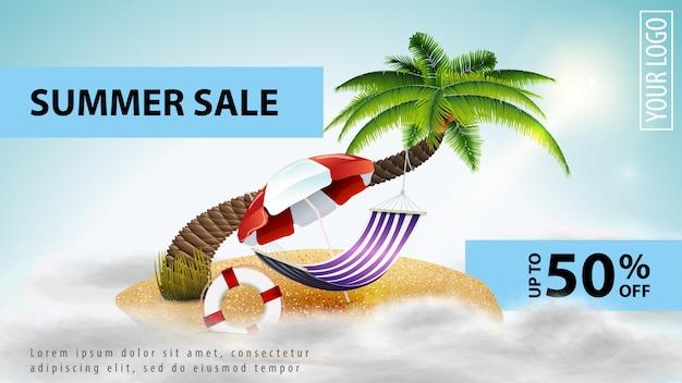 Zomer verkoop, lichte korting web-sjabloon voor spandoek