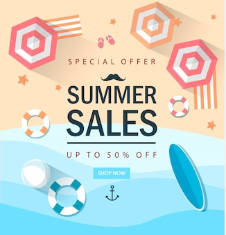 Zomer verkoop marketing sjabloon met elemets. winkel. online.