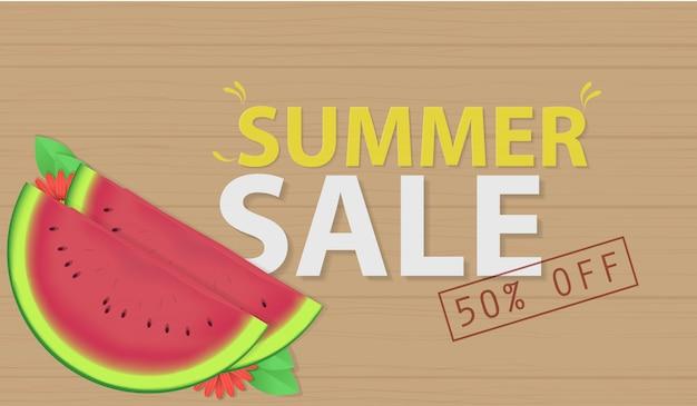 Zomer verkoop met watermeloen vector