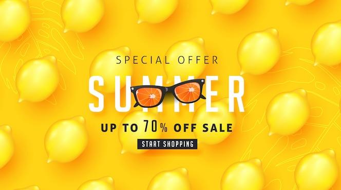 Zomer verkoop ontwerp met citroen tropische abstracte achtergrond lay-out banners. illustratie sjabloon.