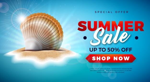 Zomer verkoop ontwerp met shell op tropische eiland achtergrond