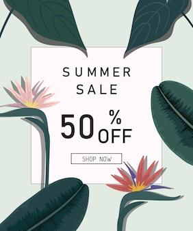 Zomer verkoop ontwerp tropische bladeren