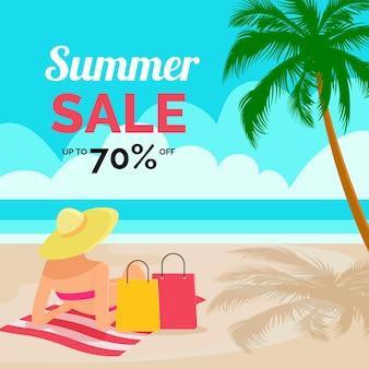 Zomer verkoop platte ontwerp met strand
