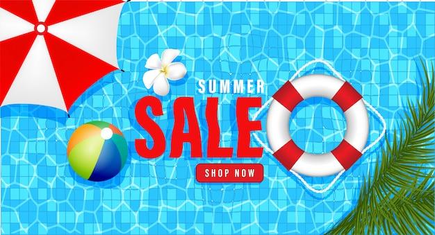 Zomer verkoop promotie winkelen, zomer promo, vakantie op het strand, webbanner sjabloon 3d-achtergrondstijl
