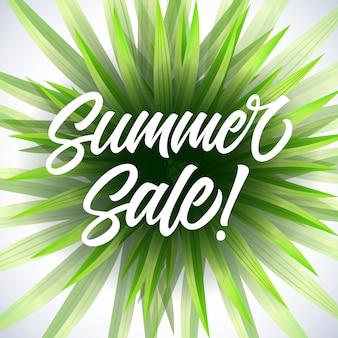 Zomer verkoop seizoensgebonden poster met groene tropische plant op witte achtergrond.