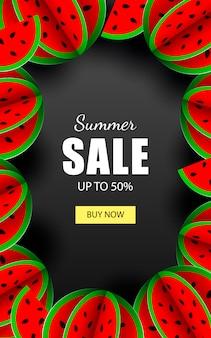 Zomer verkoop sjabloon banner met watermeloenen
