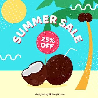 Zomer verkoop sjabloon met palmboom en kokosnoten
